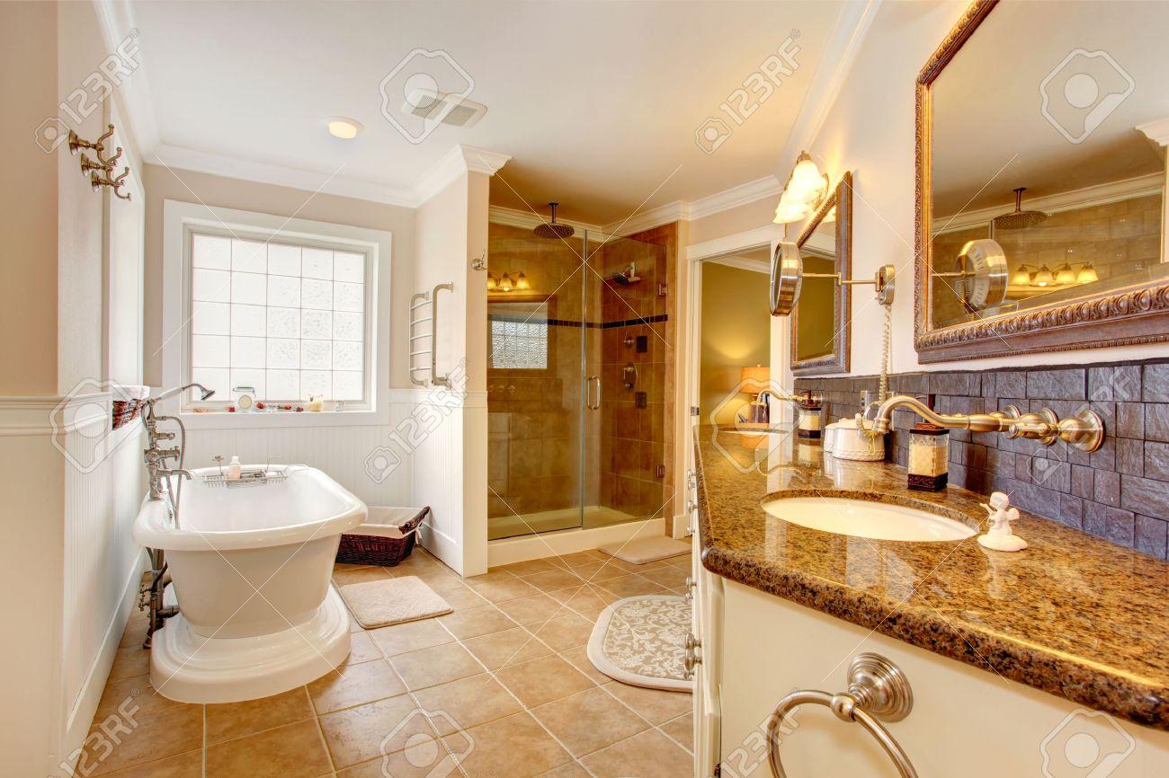 Luxury Bathroom Interior. Room Has Glass Door Shower, Cabinet ...