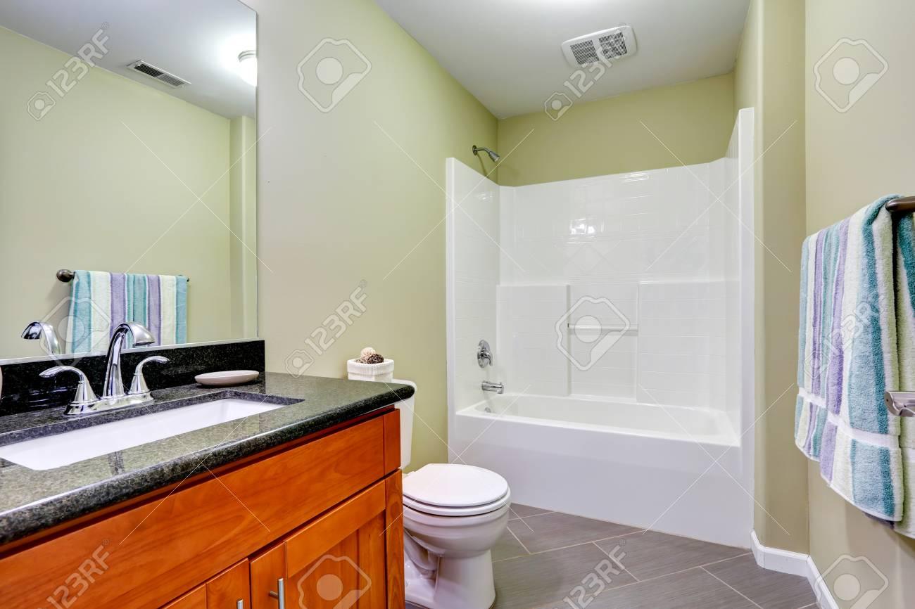 Interno bagno con pavimento di piastrelle e menta pareti. cabinet