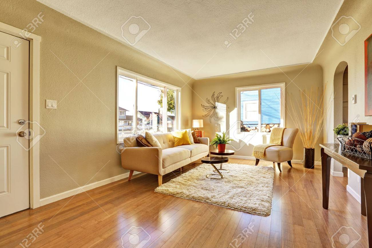 Bright livingroom with hardwood floor and tan sofa stock photo 41434274
