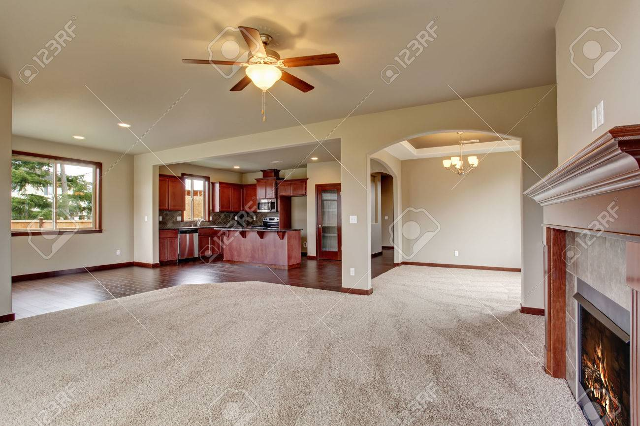 lovely unfurnished living room with carpet and fireplace stock