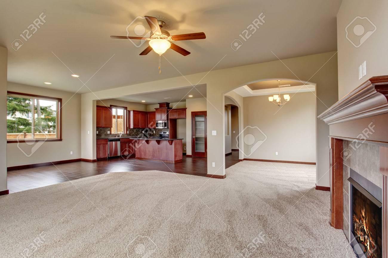 Mooie ongemeubileerde woonkamer met tapijt en een open haard ...