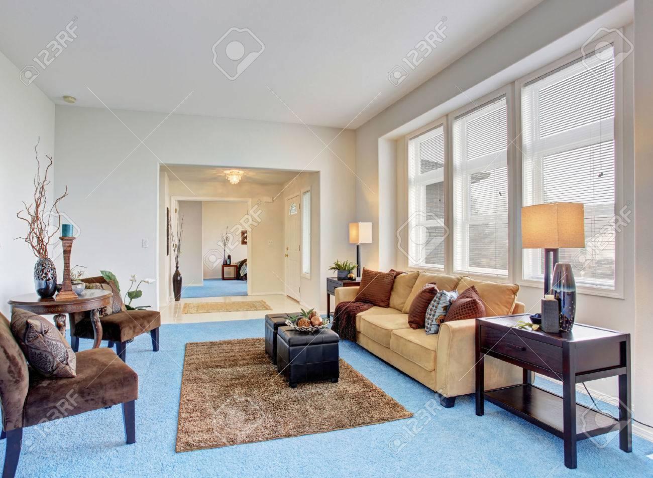 Georgous Wohnzimmer Mit Hellen Blauen Teppich Und Schöne Einrichtung