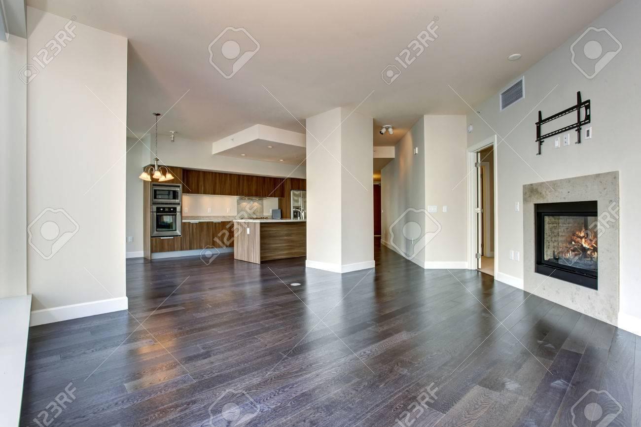 Große Leere Wohnzimmer Mit Kamin Und Parkettboden. Standard Bild   43014363