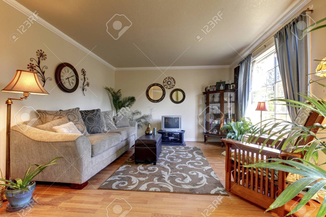 Cozy Living Room Design With Nice Decor Large Beige Sofa And