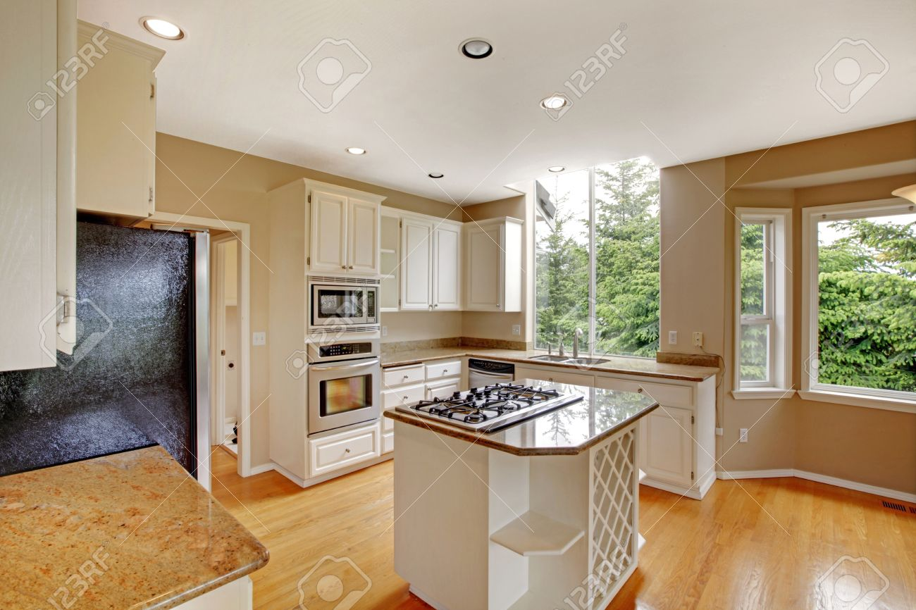 White new small simple classic American kitchen interior with..
