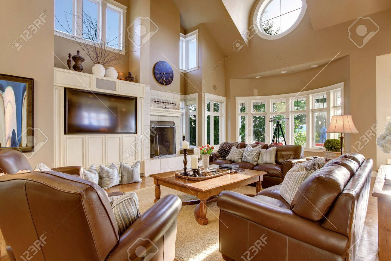 Interior Design Large Living Room Large Living Room Interior Design With High Vaulted Ceiling And