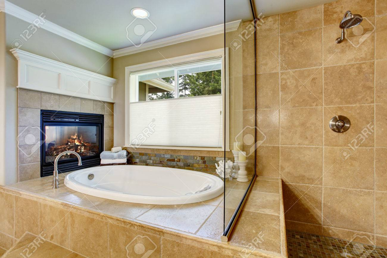 Classic American Bathroom With Whithe Bath Tub And Shower. Also ...