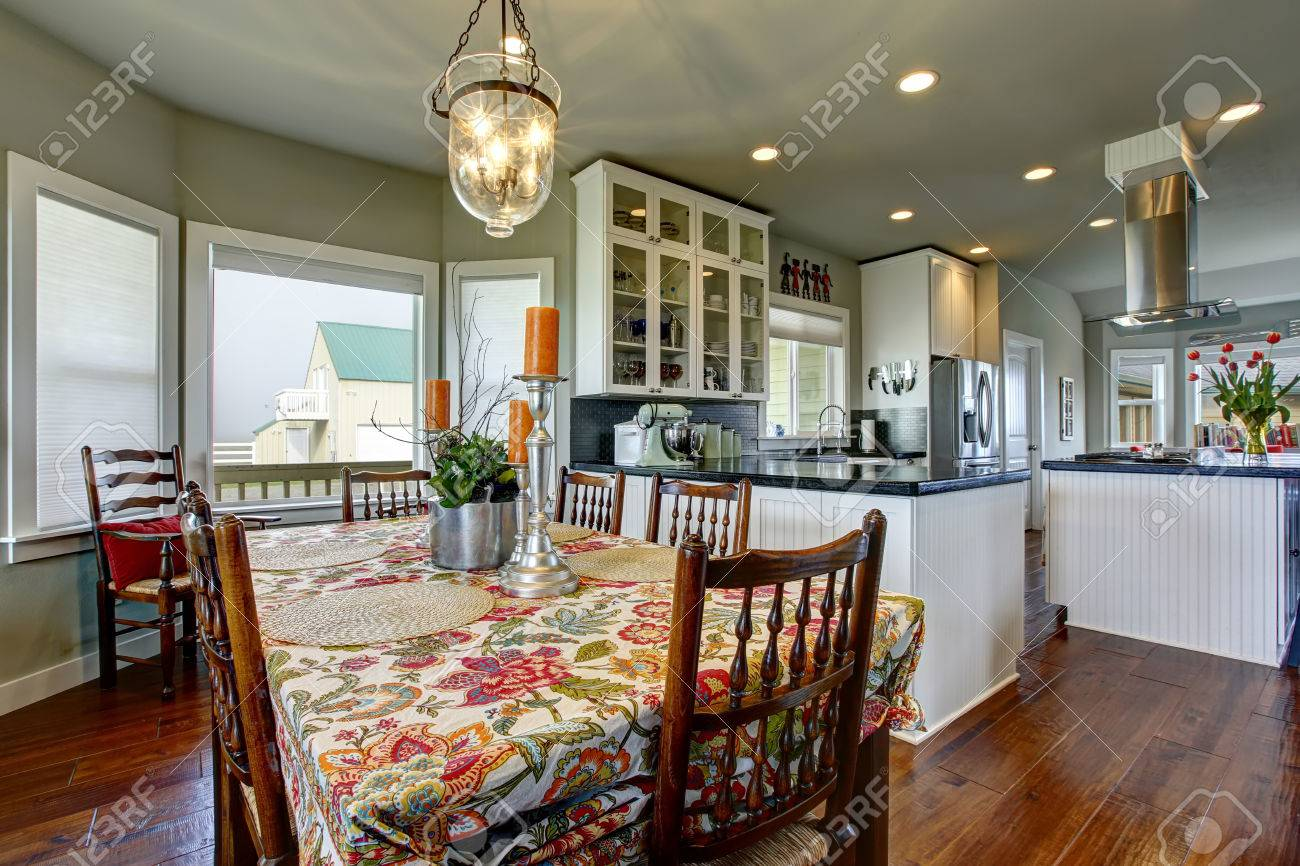Classic American Dining Area Connected To Kitchen Old Wooden