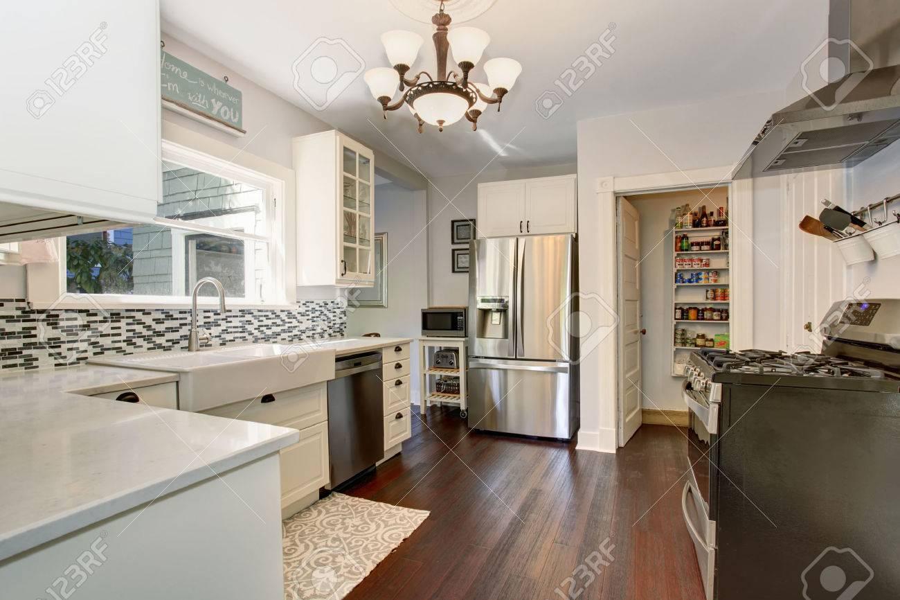 Weiße Küche Zimmer Mit Edelstahl-Kühlschrank Und Parkett. Blick Auf ...