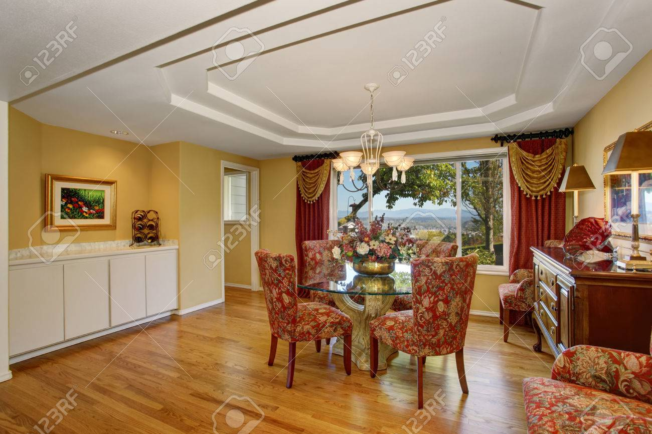 Amazing Dining Room Interior In American Classic Style Red Floral Stock Photo Picture And Royalty Free Image Image 59956381
