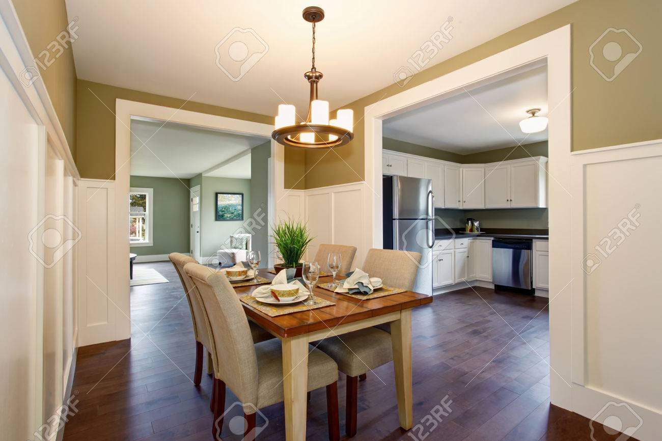 Dining Area With Soft Chairs And Hardwood Floor Also Connected Stock Photo Picture And Royalty Free Image Image 59957251