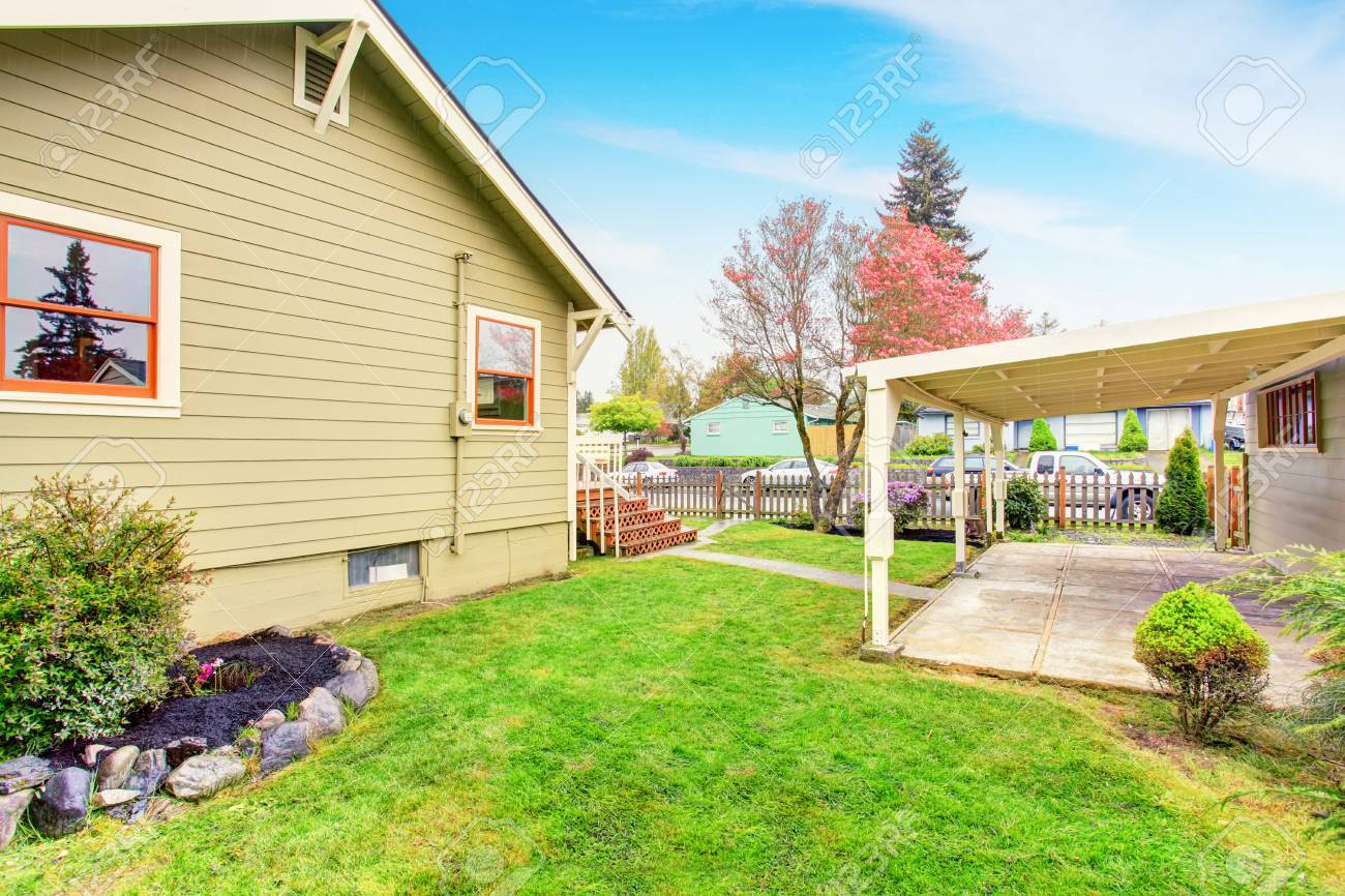 Old One Story House With Covered Concrete Patio Area And Fenced Stock Photo Picture And Royalty Free Image Image 60366055