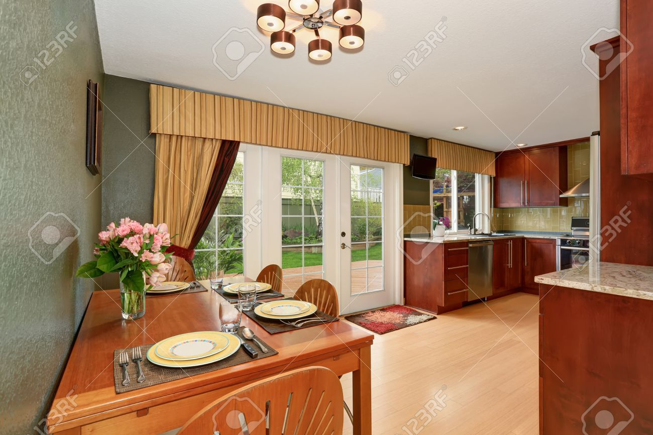 Kitchen Room Interior Connected With Dining Area Deep Green Walls French Doors Lead To