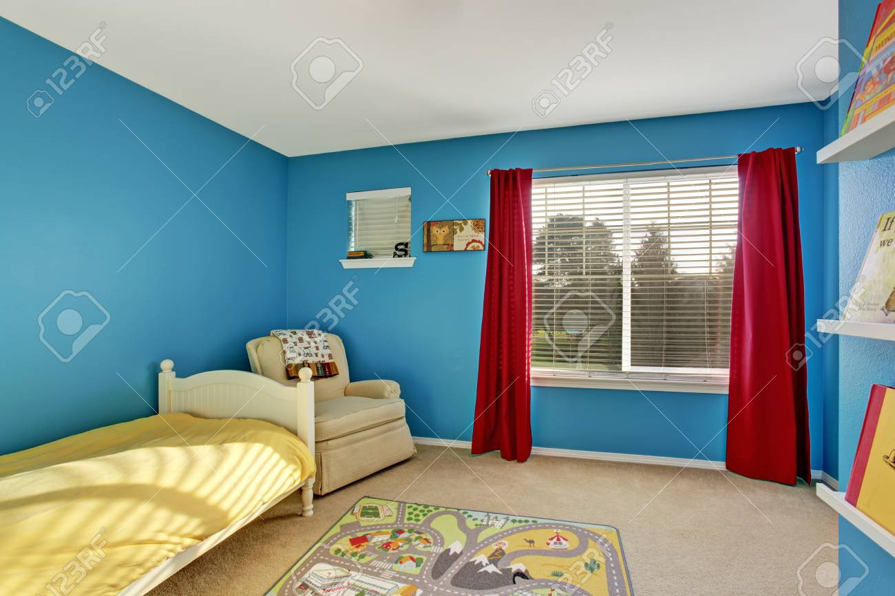 Cute kids room with blue walls carpet and red curtains Stock Photo - 60403601 & Cute Kids Room With Blue Walls Carpet And Red Curtains Stock Photo ...
