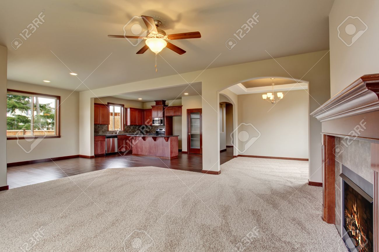 Open Floor Plan Living Room Interior With Carpet Floor And Fireplace  Connected With Kitchen Stock Photo Great Pictures