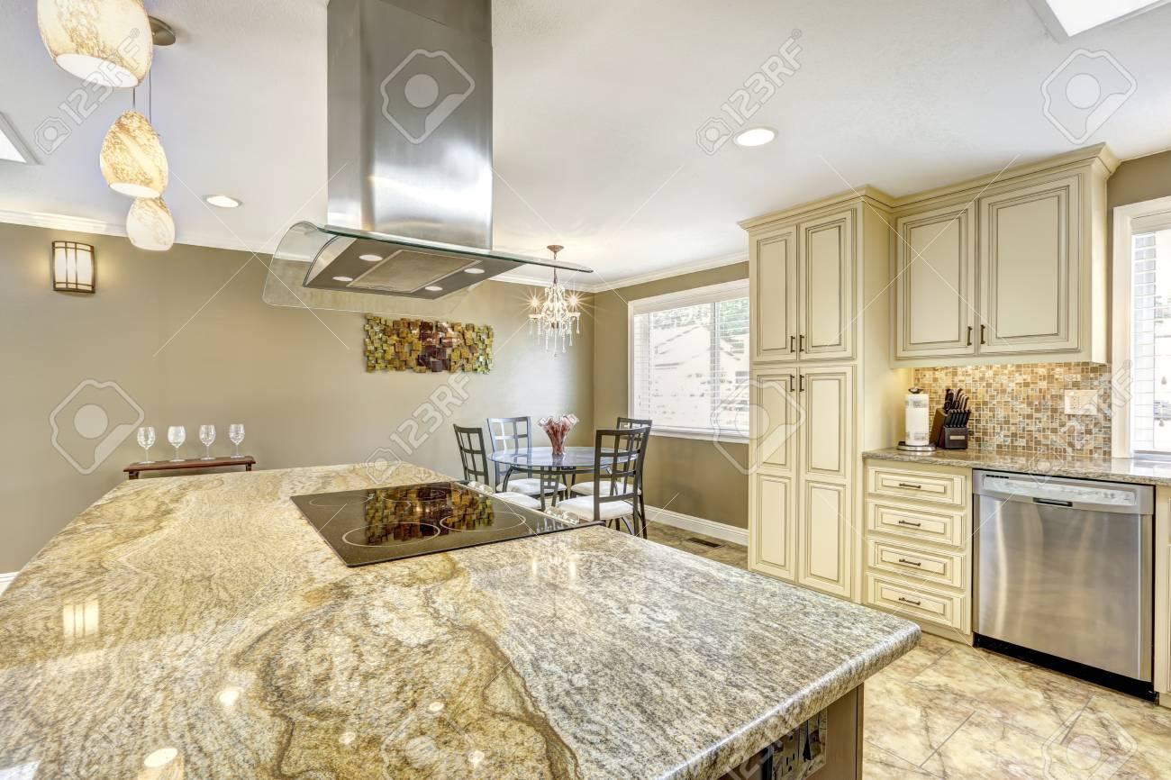 - Luxury Kitchen Interior In Light Beige Color With Back Splash