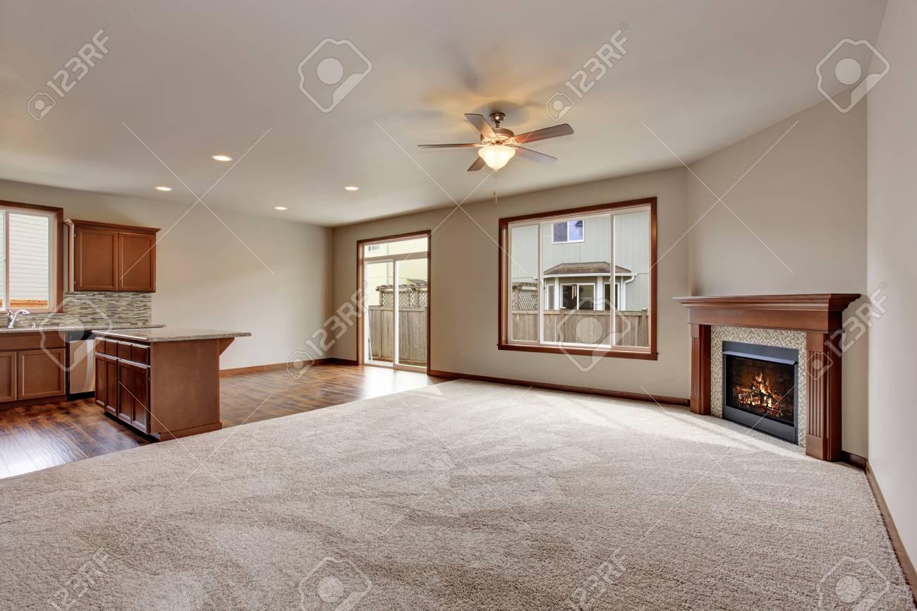 Große Leere Wohnzimmer Interieur Mit Teppichboden Und Kamin. Blick ...