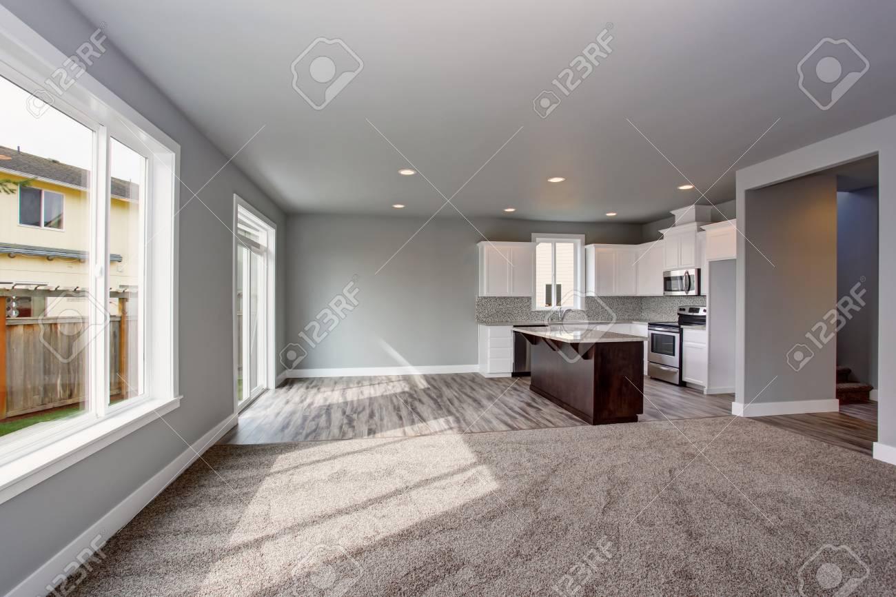 Graue Haus Unter Der Küchenraum Mit Dem Wohnzimmer Verbunden. Offene ...
