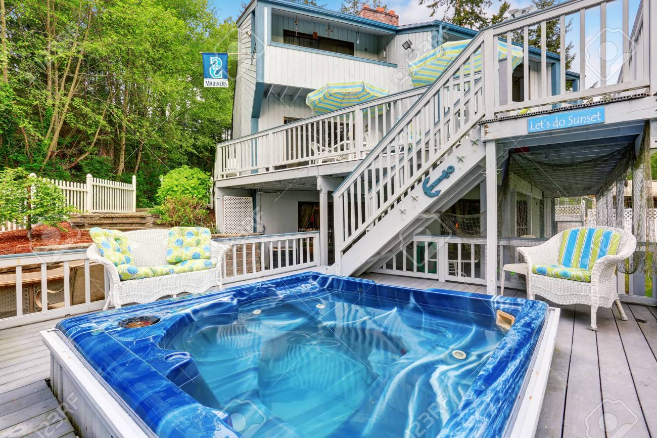 Large Marine Style Home With Two Level Deck With Jacuzzi On First ...