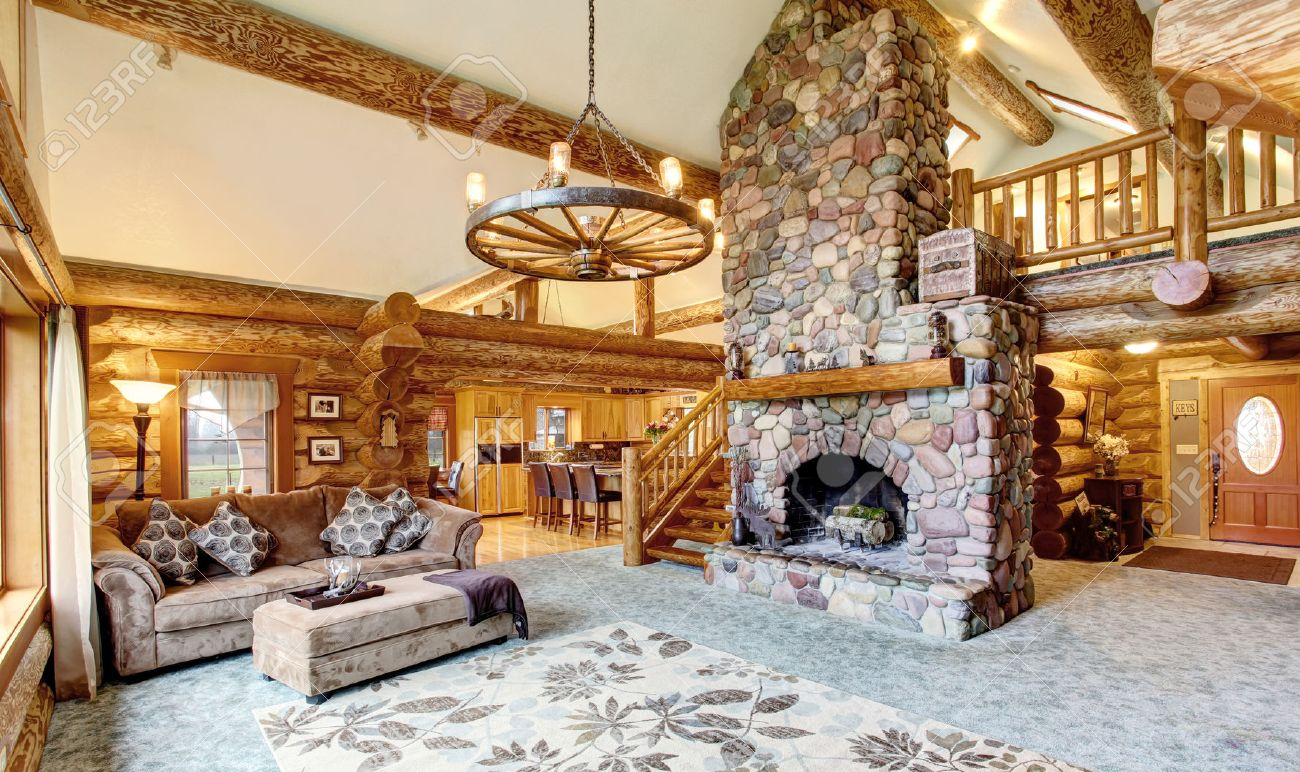 Bright Living Room Interior In American Log Cabin House Rustic