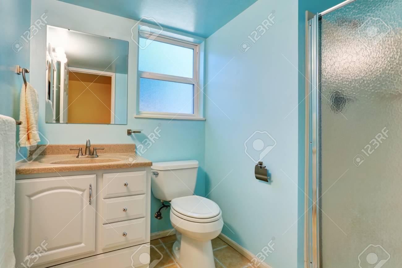 Intérieur de salle de bain bleu avec armoire blanche et comptoir en granit.  Northwest, États-Unis