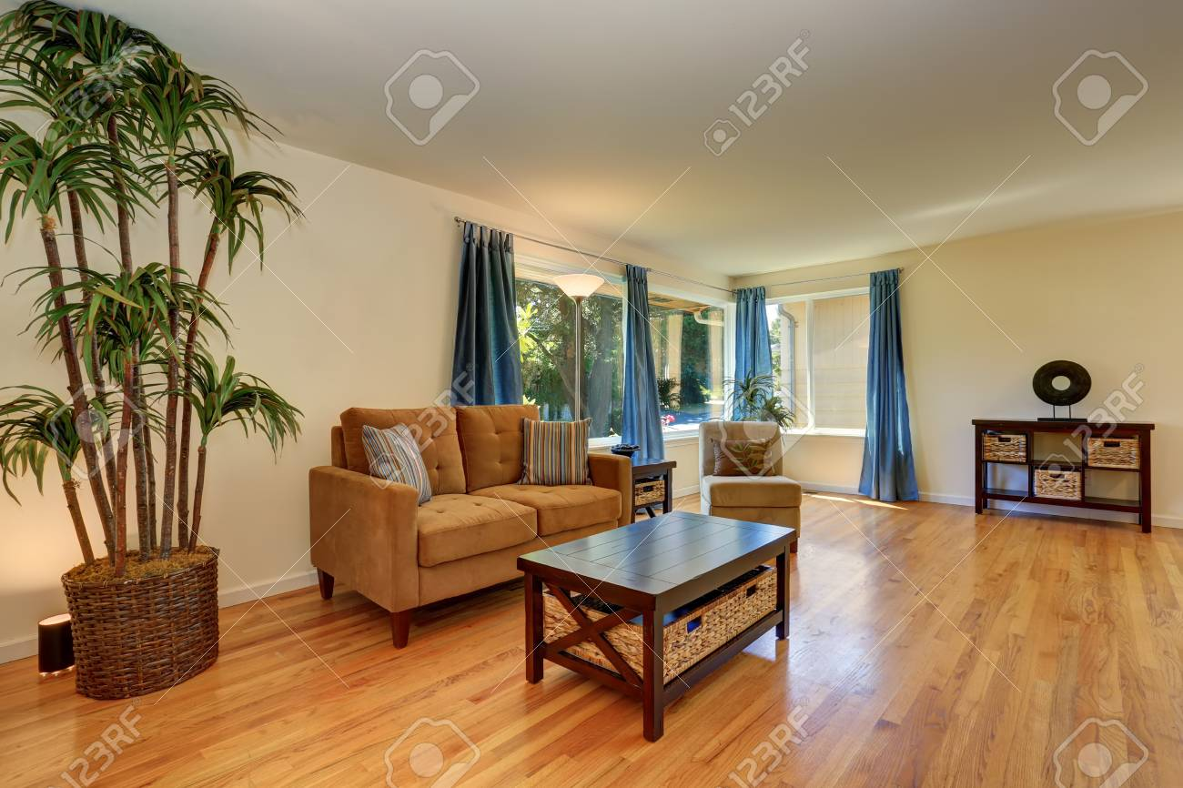 Nice Living Room In Blue And Brown Colors With Hardwood Floor