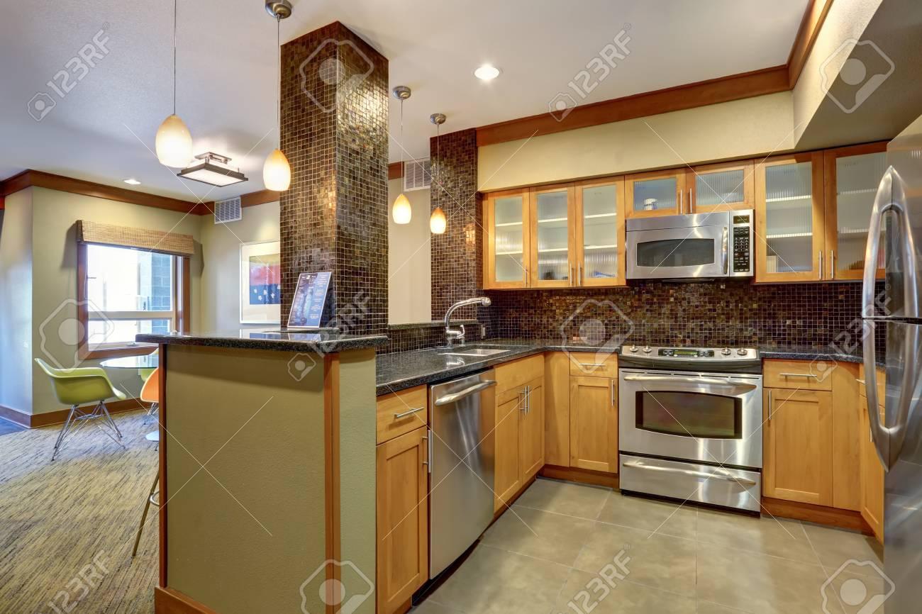 Fliesenverkleidung Küche | Apartment Kuche Interieur Mit Braun Fliesenverkleidung Und Edelstahl