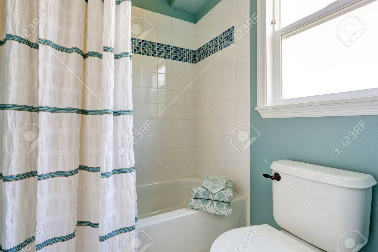 White And Blue Bathroom Interior With Mosaic Tile Trim. Northwest ...