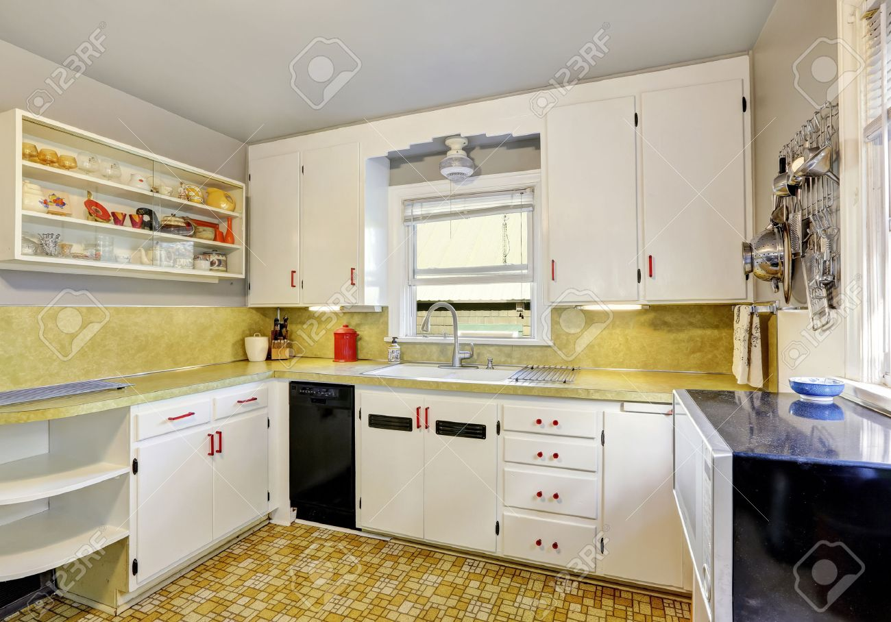 old fashioned kitchen with white cabinets cupboard and linoleum rh 123rf com Old-Fashioned Kitchen Vintage Old-Style Kitchen Designs