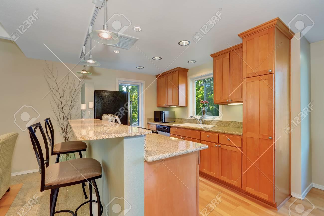 Interior cucina moderna con bar e sgabelli. mobili da cucina acero e