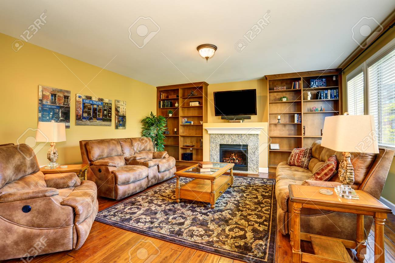 Stock Photo   Typical American Living Room Design With Fireplace And Sofa  Set. Northwest, USA