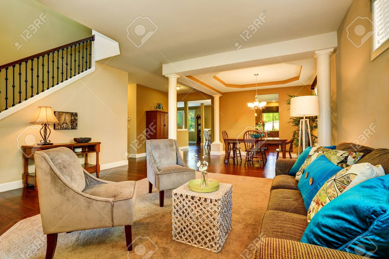 Open Floor Plan In Luxury House . View Of Living Room And Dining ...