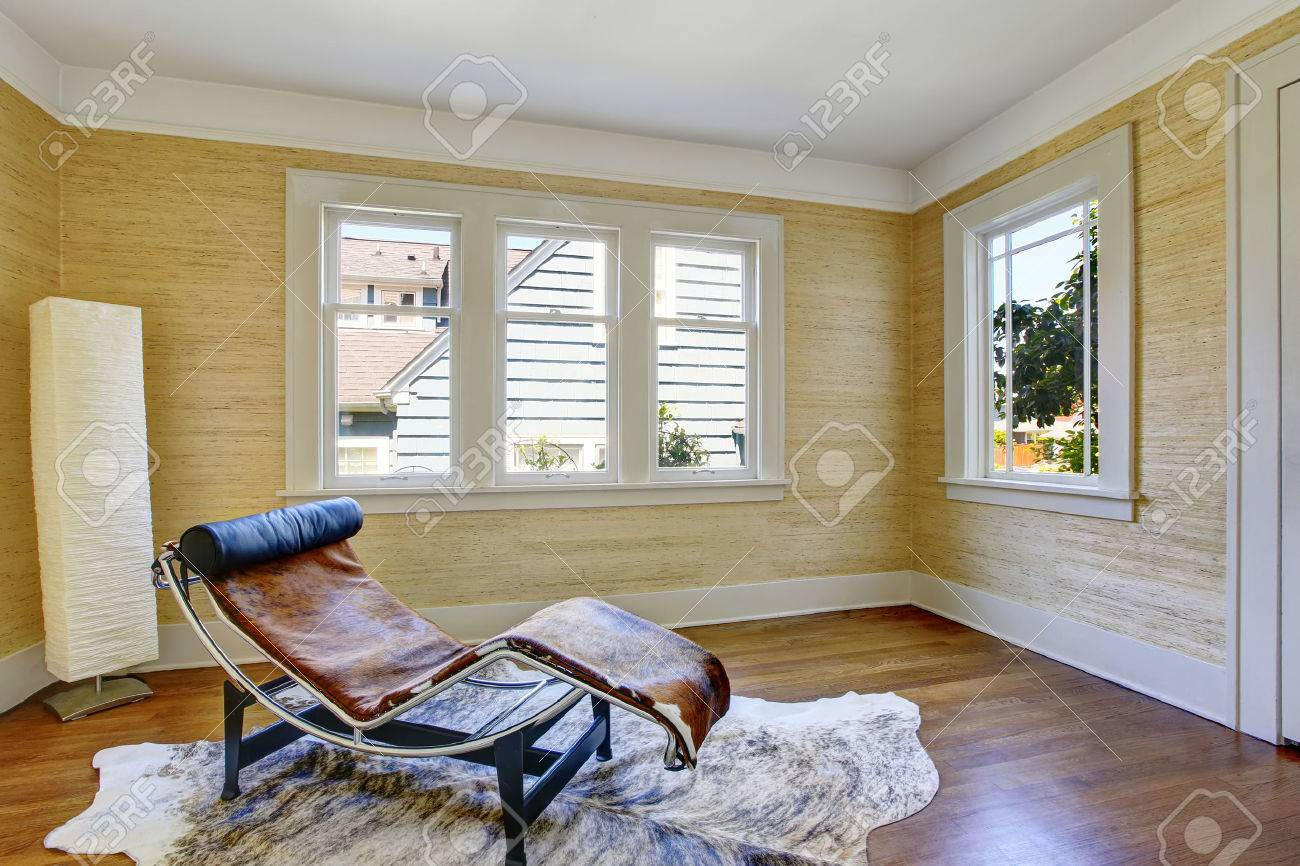 Rest room interior with modern lay down chair made of cowhide