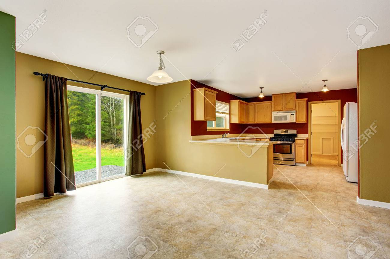 Open Floor Plan Interior Connected To Kitchen Room With Red Walls ...