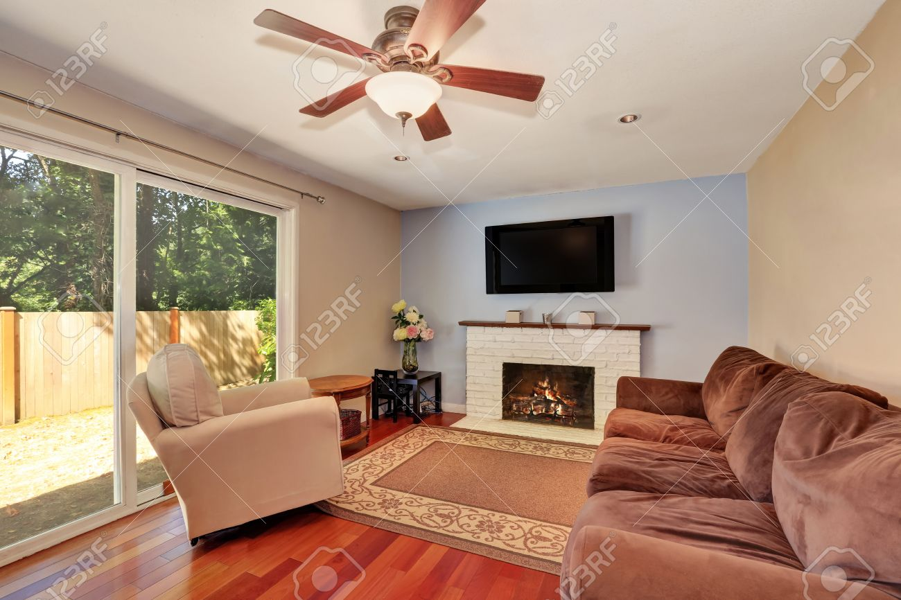 Small Classic Living Room Interior. Glass Sliding Doors Lead Out To The  Backyard. Northwest