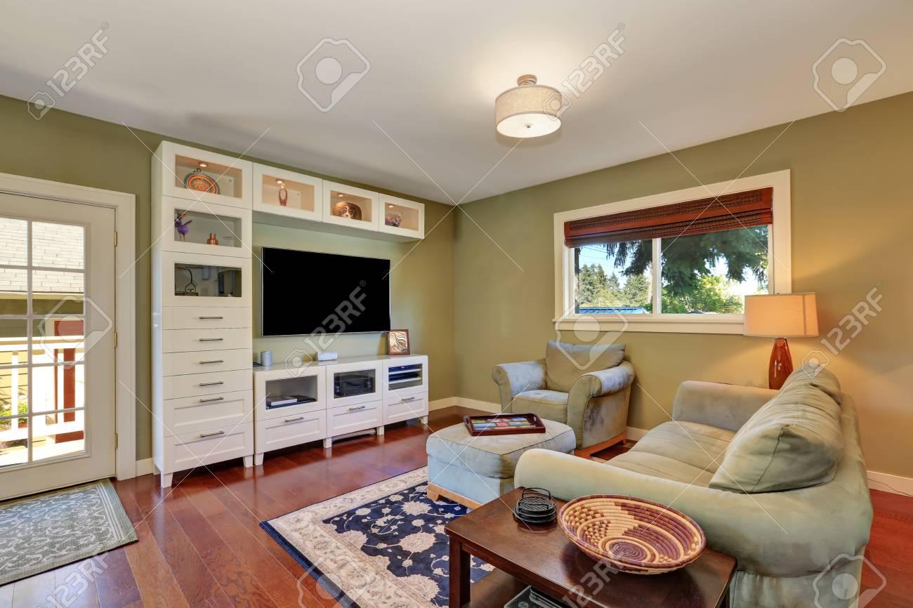 Kleines Gemutliches Wohnzimmer Unter Oliven Sofa Und Weissen Lager