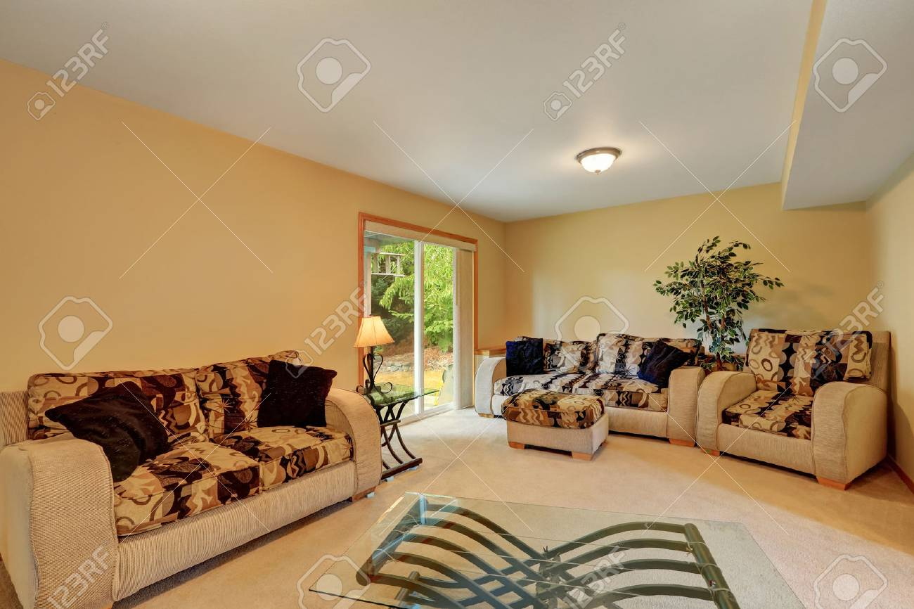 Enjoyable Cozy Family Room In Warm Peach And Beige Tones Comfortable Sofa Bralicious Painted Fabric Chair Ideas Braliciousco