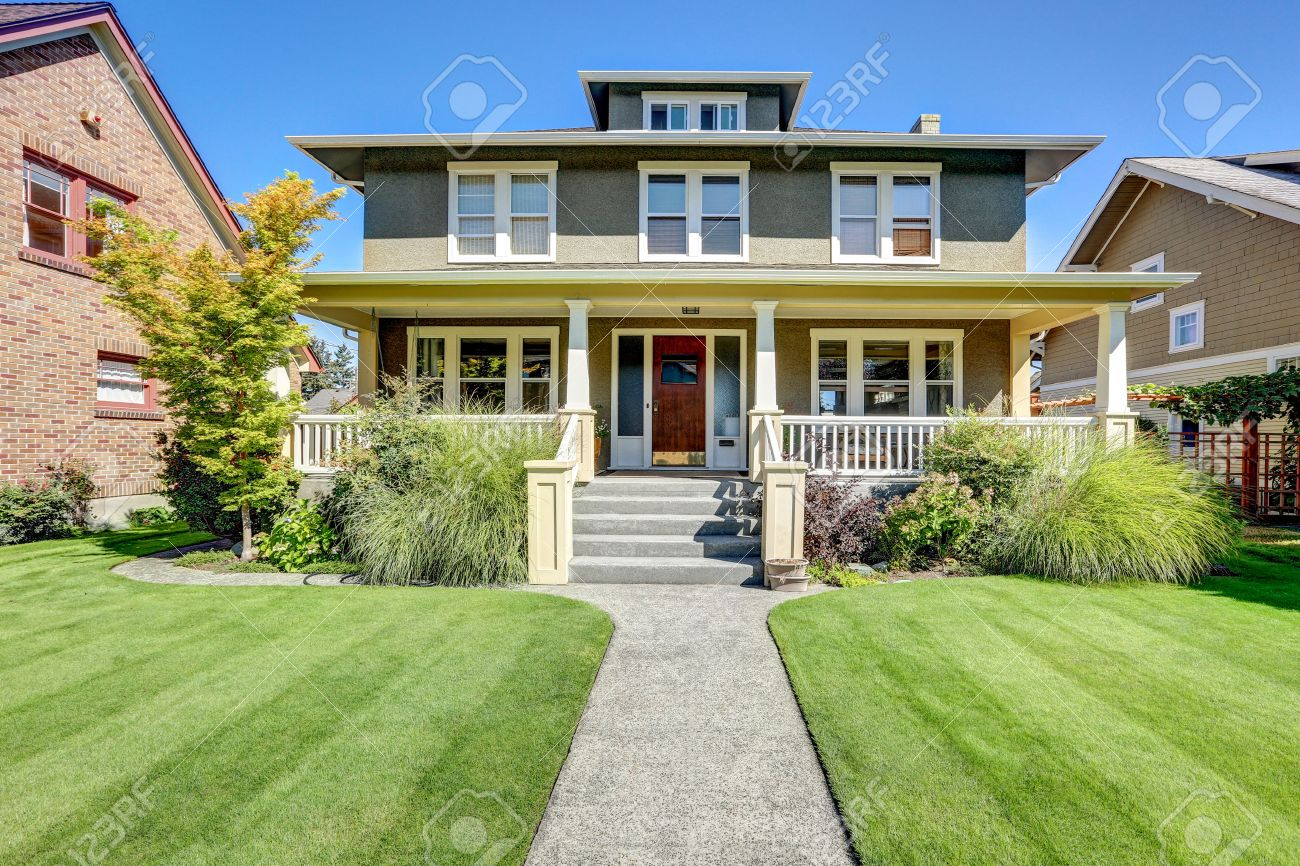 Covered front porch craftsman style home royalty free stock image - Nice Curb Appeal Of American Craftsman Style House Column Porch View And Well Kept Lawn