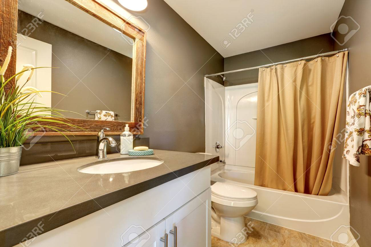 Interior Of Bathroom . Grey Walls With White Bathroom Appliances ...
