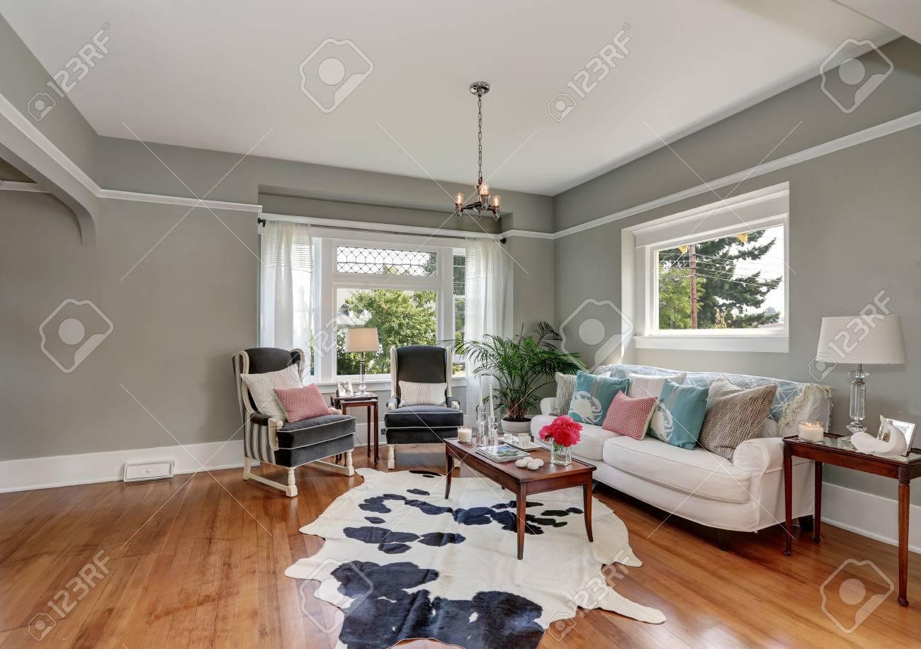 Elegant gray living room with nice interior design. decorated