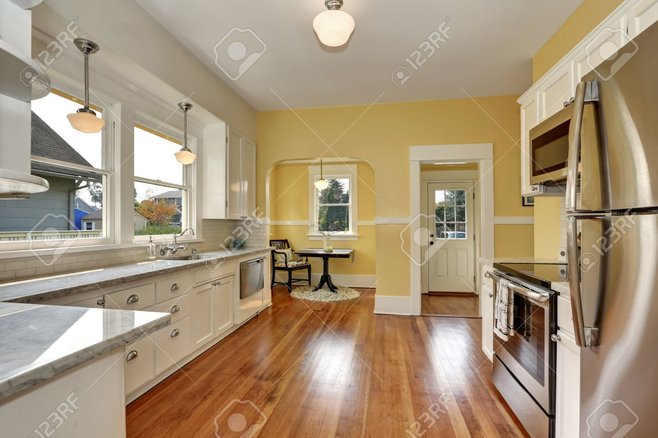 Kitchen Interior With White Cabinets Stainless Steel Appliances Stock Photo Picture And Royalty Free Image 62161229