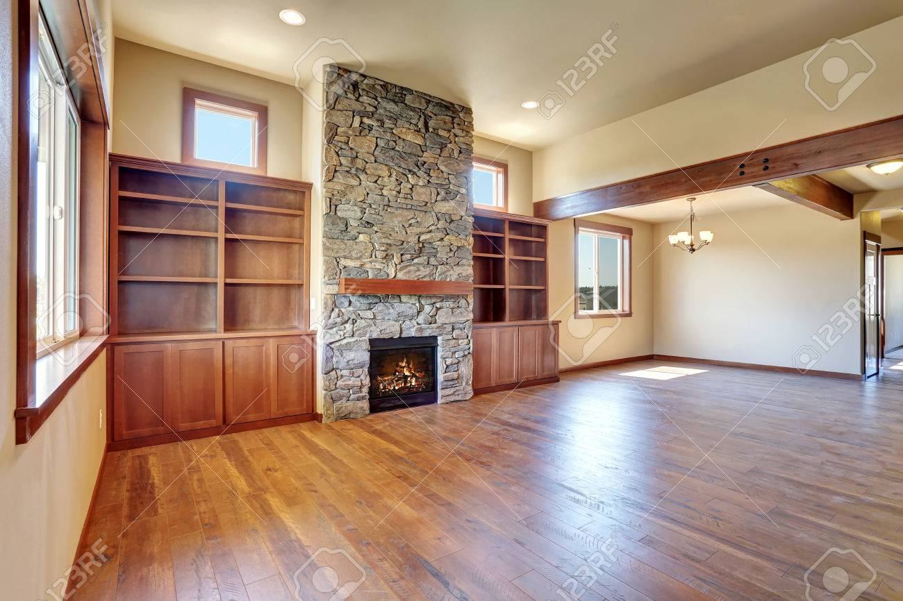 shelves with hardwood and empty interior wooden room usa northwest stone fireplace living photo floor