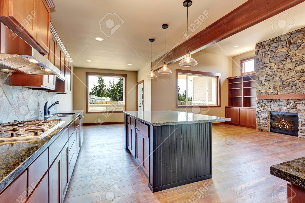Open Floor Plan Kitchen >> Open Floor Plan Kitchen Room Interior With Wooden Cabinets