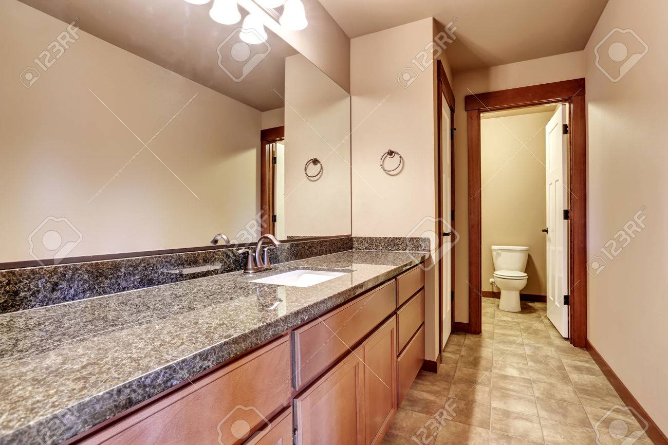 Intérieur de salle de bain de luxe avec meuble-lavabo avec comptoir en  granite et grand miroir. Voir les toilettes et le carrelage. Nord-ouest des  ...