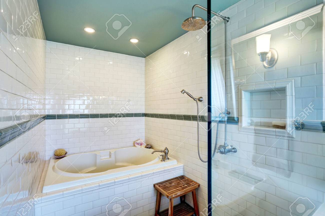 Blue Bathroom Interior With White Tile Trim Wall, Glass Cabin ...