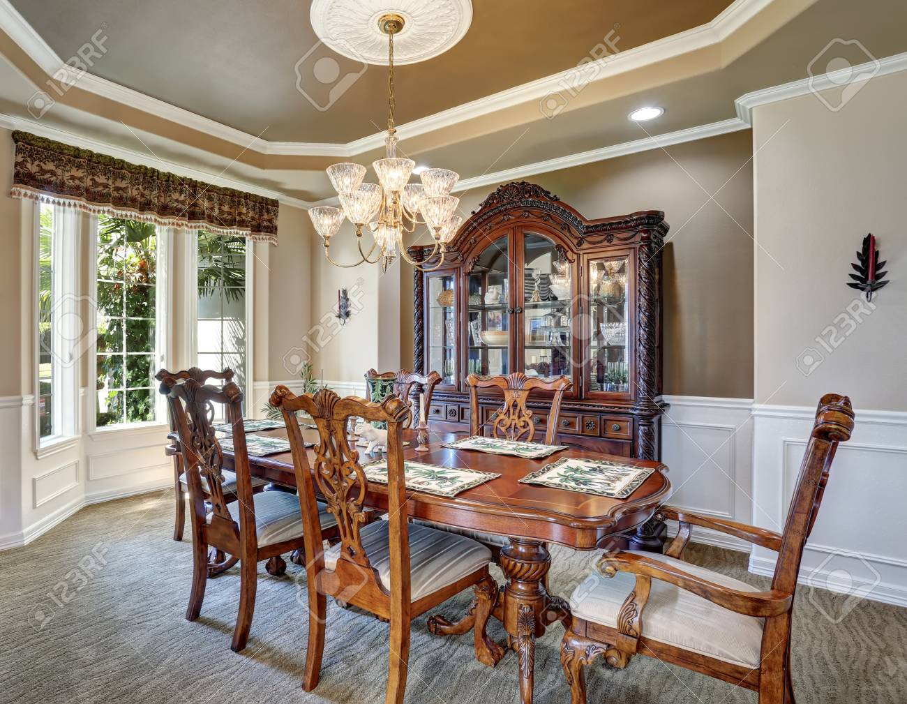 Gorgeous Dining Room Interior Design With Vintage Furniture Stock Photo Picture And Royalty Free Image Image 63737515