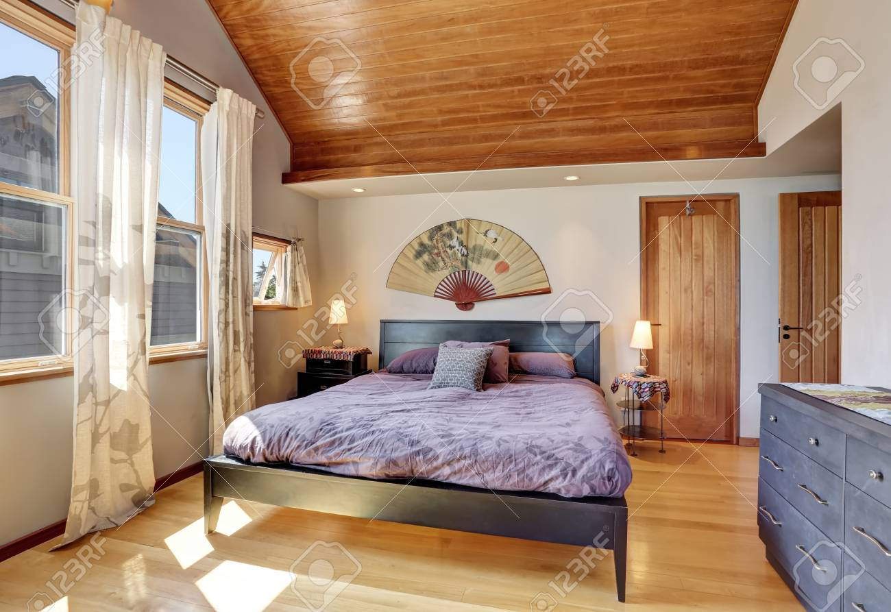 Bedroom Interior In Anese Style With Wooden Ceiling Northwest Usa Stock Photo 63737172