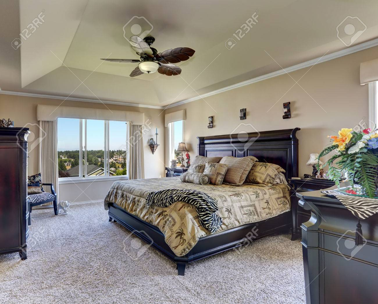 Luxury Interior Of Master Bedroom With Black Furniture. King.. Stock ...