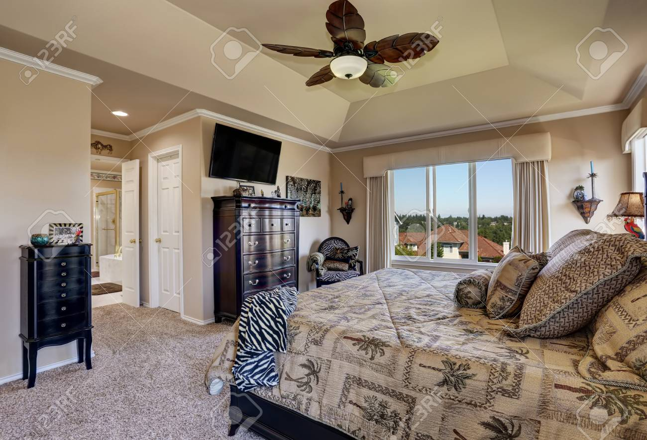 Luxury Interior Of Master Bedroom With Black Furniture King Stock Photo Picture And Royalty Free Image Image 63737067