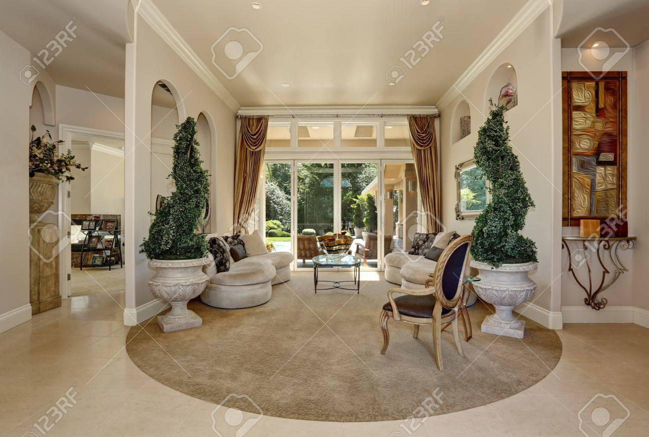 Amazing Luxury Entrance Hallway Interior With Decorative Trees In Pots And  Modern Beige Settees. Northwest